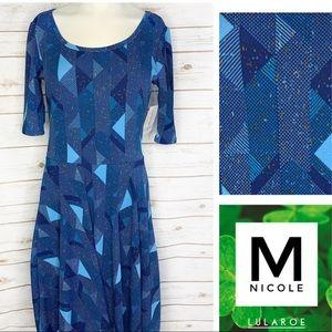 M Nicole stunning blues/golden speckle geo dress
